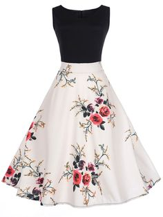 Courtly V-Neck Floral Printed Skater Dress : Courtly V-Neck Floral Printed Skater Dress Cute Prom Dresses, Grad Dresses, Homecoming Dresses, Dress Outfits, Casual Dresses, School Dance Dresses, Teen Fashion Outfits, Fashion Dresses, Fashion Styles