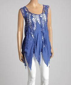 $19.99 (This Event Ends in 1 - Day, 12 hours) Royal Blue Crochet Fringe Top #zulily http://www.zulily.com/?SSAID=930758&tid=acceleration_930758 #zulilyfinds