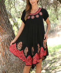 Another great find on #zulily! Black & Red Tie-Dye Embroidered Swing Dress - Women #zulilyfinds