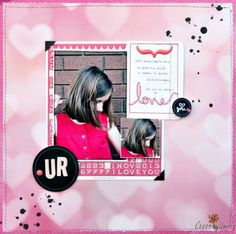 UR by Sharmaine Krujiver using the Cocoa Daisy February kit, Color Swatch. Get our well-curated kit for $32.95 + S&H here: www.cocoadaisy.com #cocoadaisy #scrapbooking #kitclub #layout #UR #stitching #bokeh #inksplatters #daughter #girl #hearts #bokehhearts #alphabet