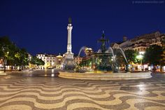Rossio Square at night