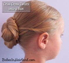 Criss Cross Twists into a Bun. The model is my niece from my sister-in-law's site Babes in Hairland!