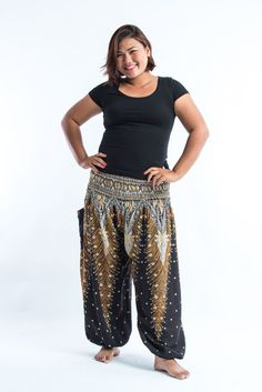 Plus Size Peacock Feathers Women's Harem Pants in Black