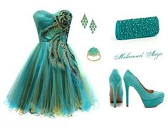Peacock colours inspire this formal outfit. Again, minus the hooker shoes lol! Not for a 7th grader ;)