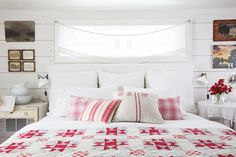 To brighten up the master bedroom, Cindy installed a door sidelight horizontally above the bed.