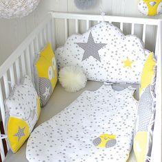*Tour de lit 5 coussins pour Cleleo, hibou et nuage, gris, jaune et blanc