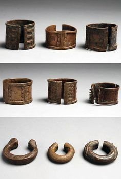 Chad | 9 bracelets collected from the Ngambaye people from the south | Copper alloy | 1st row 40€, middle row 50€, bottom row 110 € ~ sold (Sept '11)