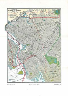 Brooklyn  Vintage Ciy Plan  Street Map 1920s New York by carambas.  SOLD.