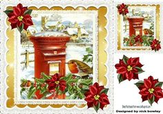 Lovely robin in snow village with holly poinsettias 8x8 on Craftsuprint - Add To Basket!