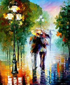 Gone With The Rain  Palette Knife Romantic Path Abstract Oil