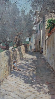 "huariqueje: "" Strada alla Capponcina (Street to Capponcina) - Telemaco Signorini , Italian , Oil on card, 29 x cm, "" City Landscape, Landscape Paintings, Italian Paintings, Italian Artist, Beautiful Paintings, Oeuvre D'art, Love Art, Painting Inspiration, Cityscapes"