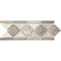 Anatolia Tile Noce and Chiaro Natural Stone Travertine Listello Tile (Common: x Actual: x at Lowe's. This beautiful tile can be used as a boarder or accent in many wall applications. Bathtub Tile, Bathroom Flooring, Wall Trim, Shower Floor, Bath Shower, Floor Colors, Stone Mosaic, Mosaic Patterns, Lowes Home Improvements