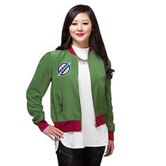 Celebrate everyone's favorite bounty hunter both here and in galaxies far, far away with this Boba Fett Patch Ladies' Bomber Jacket. A rich green, it features contrasting burgundy ribbing at the neck, waist, and sleeves.