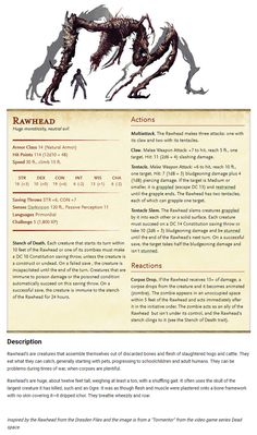 Made my first homebrew monster! What do you guys think? [OC] : DnD Dungeons And Dragons Classes, Dungeons And Dragons Characters, Dungeons And Dragons Homebrew, Dnd Characters, Cool Monsters, Dnd Monsters, Monster Concept Art, Fantasy Monster, Dnd Stats