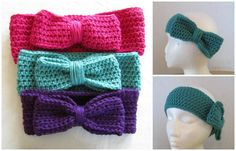 Crocheted Headband with Bow assorted colors and sizes (15.00 USD) by WarmingHeartsB1G1