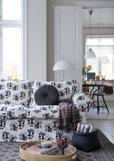 Cool Japanese. Ektorp 2 seater sofa cover in  Black/White/Red Kokeshi by Bantie. www.bemz.com