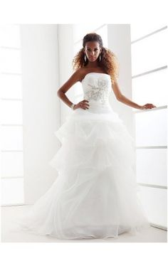 A-line Strapless Chapel Train Organza Wedding Dress
