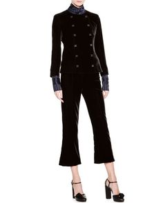 GIORGIO ARMANI Striped Mock-Neck Bell-Sleeve Top, Navy. #giorgioarmani #cloth #