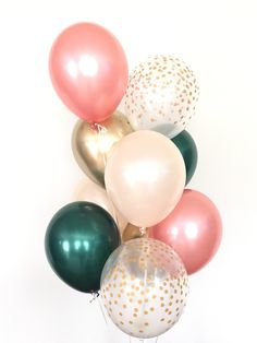 Rose Gold and Green Balloon Bouquet Rose Gold Balloons Décoration Rose Gold, Rose Gold Decor, Peach Rose, Green Bridal Showers, Gold Baby Showers, Diy Wedding Bouquet, Rose Wedding, Dream Wedding, Wedding Dresses