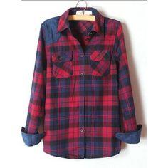 Slim Cotton Blending Long Sleeve Plaid Prints Casual Shirt
