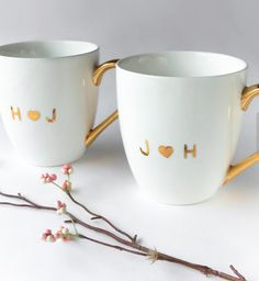 sweet monogrammed mugs make a great wedding gift
