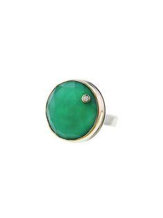 Jamie Joseph - Rose Cut Green Onyx Ring with Diamond