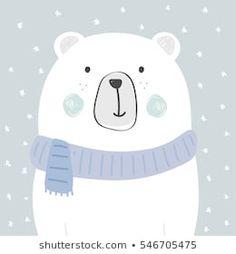 cool and cute polar bear illustration Polar Bear Illustration, Cute Illustration, Cute Polar Bear, Cute Bears, Christmas Drawing, Christmas Art, Animal Drawings, Cute Drawings, Scrapbooking Image