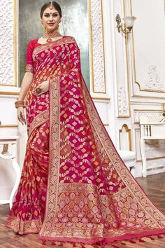 Pink viscose saree with pink viscose blouse. Embellished with woven zari work. Saree with Sweetheart Neckline, Elbow Sleeve. It comes with unstitch blouse, it can be stitched to 32 to 58 sizes. #weddingsaree #weddingwearsaree #festivalwear #partywearsaree