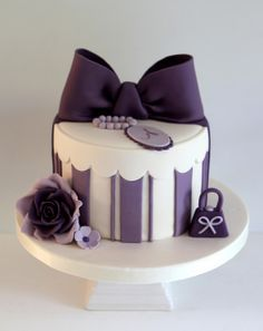 Beautiful Cake Pictures: Purple Striped Birthday Cake with Large Bow: Birthday Cakes, Purple Cakes Girly Cakes, Purple Cakes, Fancy Cakes, Bow Cakes, Fondant Cakes, Cupcake Cakes, Fondant Bow, Hat Box Cake, Gift Box Cakes