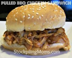 Pulled BBQ Chicken Sandwich #stockpile #recipe  http://www.stockpilingmoms.com/2012/08/pulled-bbq-chicken-sandwich-2/