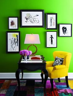 Black framed art and bold colorful walls add lots of pop without spending lots of $