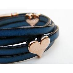 Blue Double-Wrap Hearts TooLittle Bracelet #leather bracelet Hearts, Bracelets, Leather, Blue, Jewelry, Fashion, Moda, Jewlery, Bijoux