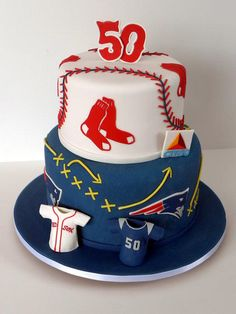 Boston Sports Fan - Cake by Kara's Couture Cakes