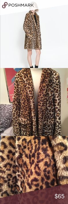 Zara Faux Fur Leopard Coat Size Medium Zara Faux faux leopard coat in size medium, never been worn!! Beautiful coat, great fashion statement, super soft and warm. Took off tags but has never been worn. Zara Jackets & Coats