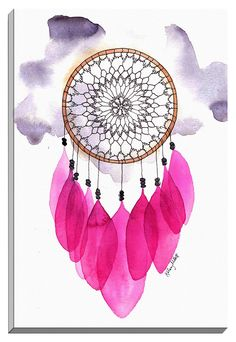Fuchsia Dream Catcher by Kelsey McNatt Painting Print on Wrapped Canvas