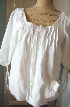 SALEIrish Linen Prairie Lagenlook Top Romantic  Pirate Peasant Country Boho Womens Medium Shabby Chic Altered Upcycled Vintage Embroidery