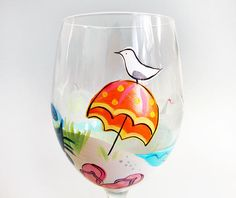 Hand Painted Wine Glass just right for lounging on the deck.