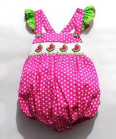 This Fairies Kid Fuchsia Polka Dot Smocked Bubble Bodysuit - Infant & Toddler by Fairies Kid is perfect! #zulilyfinds