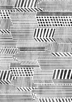 """Black and white """"Linear City"""" Pattern"""
