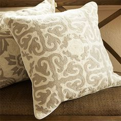 My pillows for chesterfield...Wool Embroidered Grey Mosaic Pillow