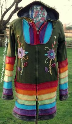 ♥ ~FAB NEW LONG HIPPIE RAINBOW JACKET CARDIGAN COAT 10 12 BOHO FESTIVAL TIE DYE