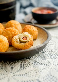 Baked Rice Balls Stuffed with Olives