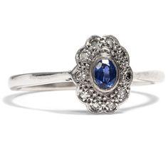 Die Farben des Winters - Antiker Ring mit Saphir & Diamanten, Großbritannien um 1930 von Hofer Antikschmuck aus Berlin // #hoferantikschmuck #antik #schmuck #antique #jewellery #jewelry