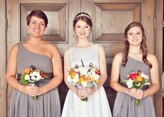 Grey and Spanish orange themed, indoor July wedding. Flowers by P J Parkinson. Photography by Daniel Andrew Photography.
