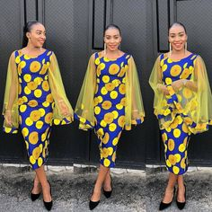 ankara stil Look stunning in this beautiful Ankara piece with butterfly sleeves. It's available in all US size and other Ankara prints. Buyer's can send in their measurement, kindly messag Ankara Short Gown Styles, Trendy Ankara Styles, Ankara Gowns, Ankara Dress, Ankara Jumpsuit, African Attire, African Wear, African Women, African Dress