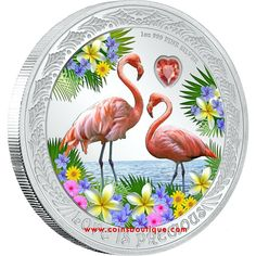 Love is Precious Flamingos 1 oz Silver Coin Proof Niue 2021 1 Oz, Silver Coins, Bunch Of Flowers, Beautiful Love, Coin Collecting, True Love, Pretty In Pink, Heart Shapes, Decorative Plates