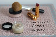 Super Simple Homemade Lip Scrub Recipe  1 tsp. coconut oil (organic,cold pressed or deodorized – depending if you want the coconut smell) 1 tsp. brown sugar (or any sugar you have on hand)