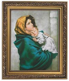 Madonna Of The Streets  Print in Ornate Gold Frame By Artist Ferruzzi