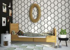 Geometric Wallpaper In 10 Bold Bedroom Ideas - Interior Idea Black And White Wallpaper, Geometric Wallpaper, Kids Room Design, Baby Room Decor, Kids Bedroom, Kids Rooms, Colorful Interiors, Decoration, Interior Design