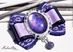 Purple ribbon bow brooch with galaxy glass by MelentineAccessories